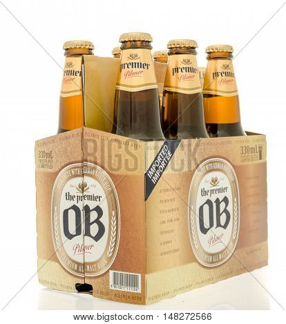 Winneconne WI - 30 August 2016: Six pack of OB beer from South Korea on an isolated background.