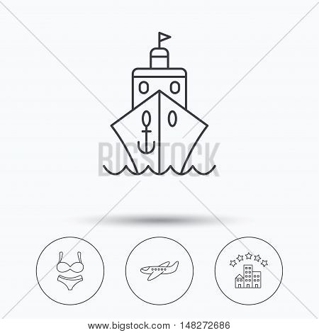 Cruise, lingerie and airplane icons. Hotel linear sign. Linear icons in circle buttons. Flat web symbols. Vector