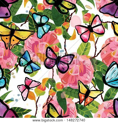 Seamless pattern with tender pink camellia flowers with green leaves, watercolor butterflies and splashes of paint, on white background. Scalable vector graphic