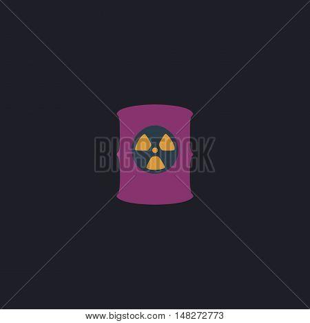 Radioactive waste Color vector icon on dark background