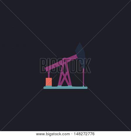 oil pump Color vector icon on dark background