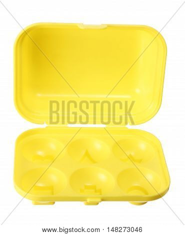 Plastic Toy Egg Carton on White Background