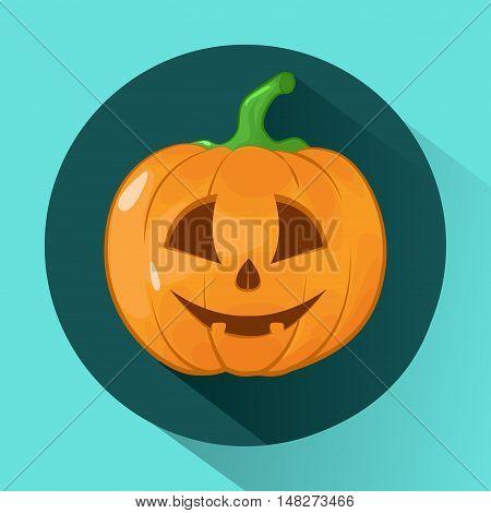 Vector illustration of Halloween Pumpkin. Icon. Face on pumpkin.