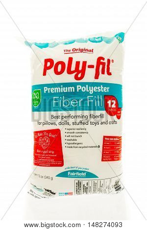 Winneconne WI - 3 September 2016: Bag of the original poly-fil polyester fiber fill on an isolated background.