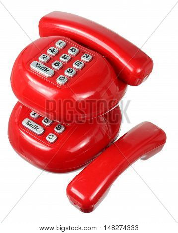 Toy Plastic Phones on Isolated White Background