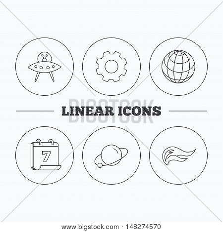 Ufo, planet and fire flame icons. Globe linear sign. Flat cogwheel and calendar symbols. Linear icons in circle buttons. Vector
