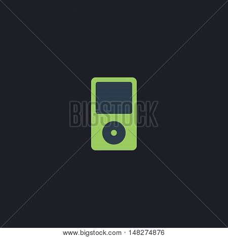 mp3 player Color vector icon on dark background