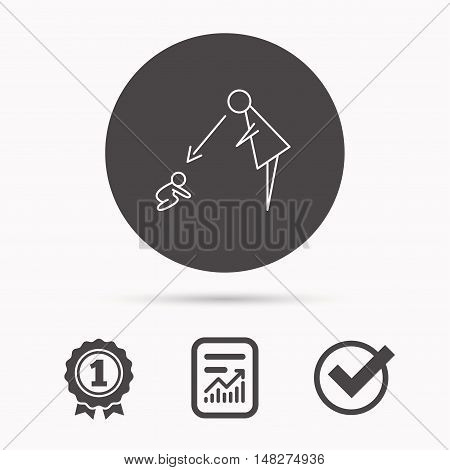 Under nanny supervision icon. Babysitting care sign. Mother watching baby symbol. Report document, winner award and tick. Round circle button with icon. Vector
