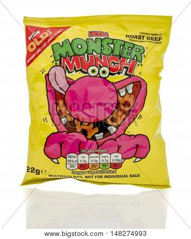 Winneconne WI - 23 July 2016: Bag of Mega Monster Munch pickled roast beef chips on an isolated background.
