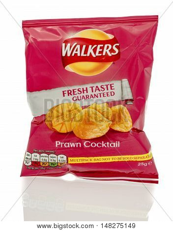 Winneconne WI - 23 July 2016: Bag of Walkers prawn cocktail chips on an isolated background.
