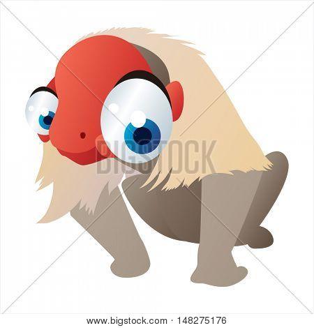 vector cartoon cute animal mascot. Funny colorful cool illustration of happy Uakari monkey
