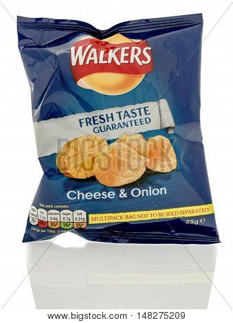 Winneconne WI - 23 July 2016: Bag of Walkers cheese & onion chips on an isolated background.