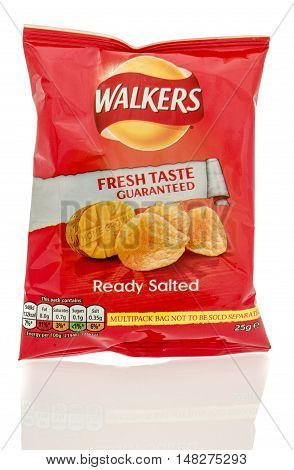 Winneconne WI - 23 July 2016: Bag of Walkers ready salted chips on an isolated background.