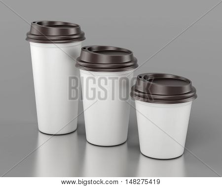Close-up Disposable Plastic Cups Of Different Sizes. 3D Rendering.