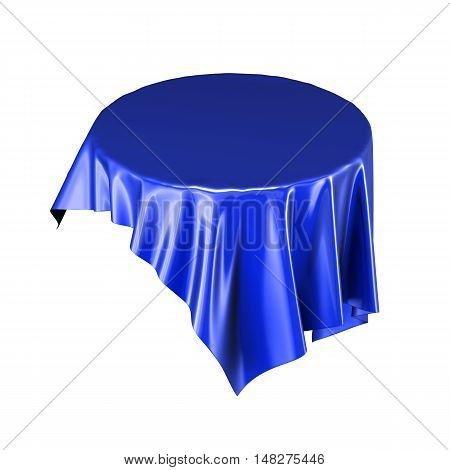 Blue Silk Or Stain Tablecloth Floating In The Air Isolated On White Background. 3D Rendering