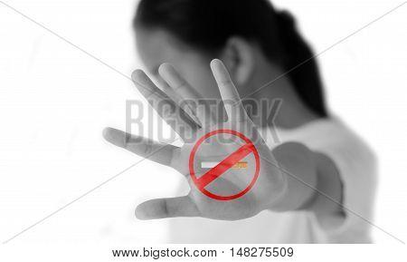 Girls do not like smoking symbol on a white background.