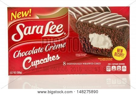 Winneconne WI - 29 July 2016: Box of Sara Lee chocolate cupcakes on an isolated background.
