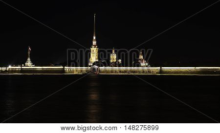 Night view of Neva River and Peter and Paul Fortress in St. Petersburg Russia
