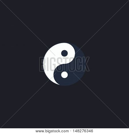 Ying yang Color vector icon on dark background