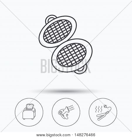 Curling iron, hair-dryer and toaster icons. Waffle-iron linear sign. Linear icons in circle buttons. Flat web symbols. Vector