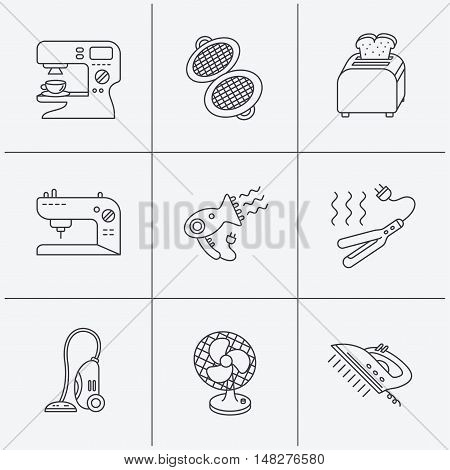 Coffee maker, sewing machine and toaster icons. Ventilator, vacuum cleaner linear signs. Hair dryer, steam ironing and waffle-iron icons. Linear icons on white background. Vector