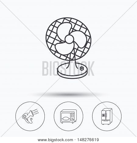 Microwave oven, hair dryer and ventilator icons. American style refrigerator linear sign. Linear icons in circle buttons. Flat web symbols. Vector