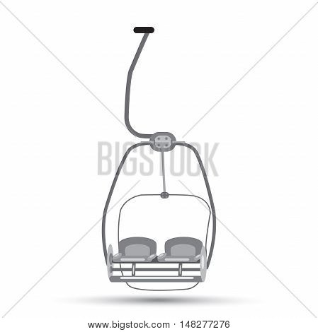 ski lift with a shadow in shades of gray on a white background