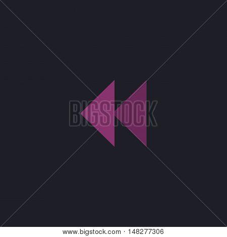 rewind  Color vector icon on dark background