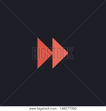 Fast forward Color vector icon on dark background
