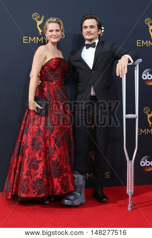 LOS ANGELES - SEP 18:  Aimee Mullins, Rupert Friend at the 2016 Primetime Emmy Awards - Arrivals at the Microsoft Theater on September 18, 2016 in Los Angeles, CA