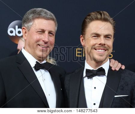 LOS ANGELES - SEP 18:  Bruce Hough, Derek Hough at the 2016 Primetime Emmy Awards - Arrivals at the Microsoft Theater on September 18, 2016 in Los Angeles, CA