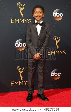 LOS ANGELES - SEP 18:  Miles Brown at the 2016 Primetime Emmy Awards - Arrivals at the Microsoft Theater on September 18, 2016 in Los Angeles, CA
