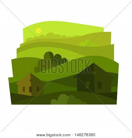 The landscape with shrubs and houses. Vector illustration.