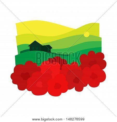 The landscape in the sunset with poppies and houses. Poppy field, sky and sun. Vector illustration.
