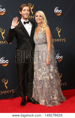 LOS ANGELES - SEP 18:  Thomas Middleditch, Mollie Gates at the 2016 Primetime Emmy Awards - Arrivals at the Microsoft Theater on September 18, 2016 in Los Angeles, CA