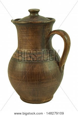 Ceramic jug with handle and cap handmade clay. Isolated on a white background