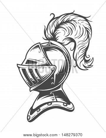Monochrome knight helmet armor. Isolated on white background