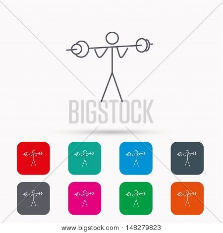Weightlifting icon. Heavy fitness sign. Muscular workout symbol. Linear icons in squares on white background. Flat web symbols. Vector