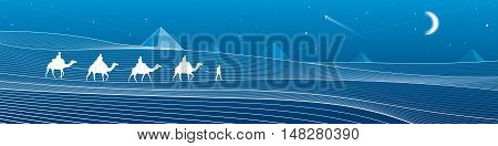 Caravan passes through the sand desert, dunes, pyramids on the horizon, white lines on blue background, night panorama, vector design art
