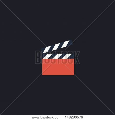 clap board Color vector icon on dark background