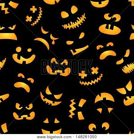 Halloween pumpkin faces seamless pattern. Red jack faces on black background. Vector illustration.