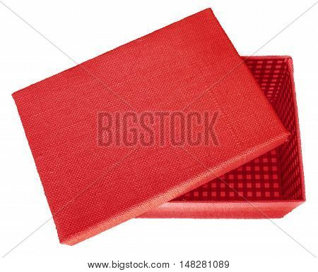 Opened red box wrapped by burlap canvas isolated on a white background. Clipping path included.