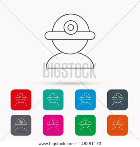 Worker icon. Engineering helmet sign. Linear icons in squares on white background. Flat web symbols. Vector