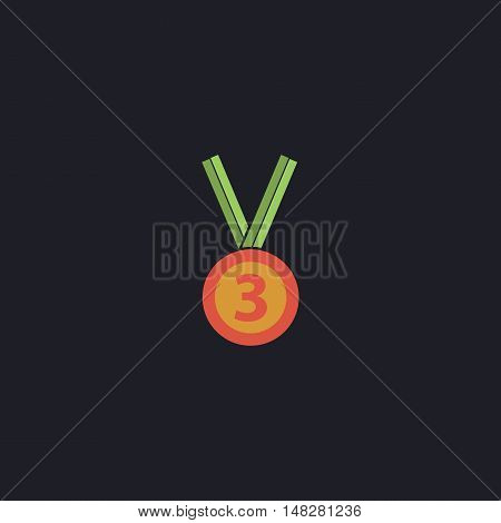 bronze medal Color vector icon on dark background