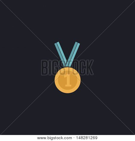 gold medal Color vector icon on dark background