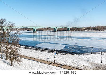 Russia, Yaroslavl-March 27, 2016. October bridge through the river Volga. Built in the years 1961-1966