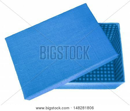 Opened blue box wrapped by burlap canvas isolated on a white background. Clipping path included.