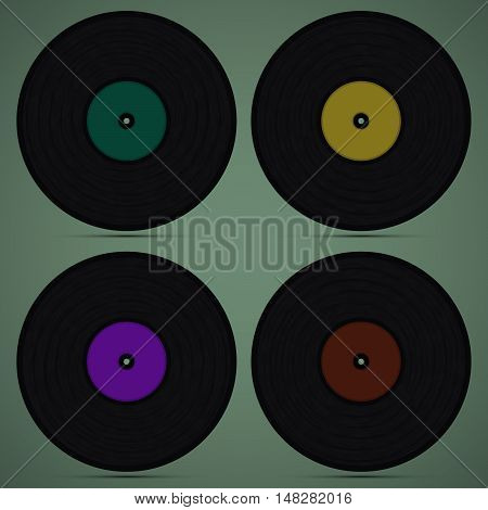 Set of four records on the green background
