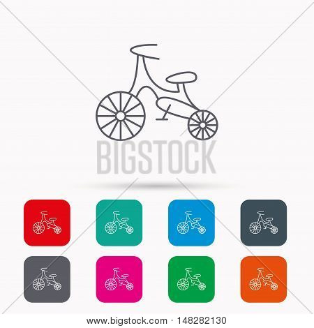 Bike icon. Kids run-bike sign. First bike transport symbol. Linear icons in squares on white background. Flat web symbols. Vector
