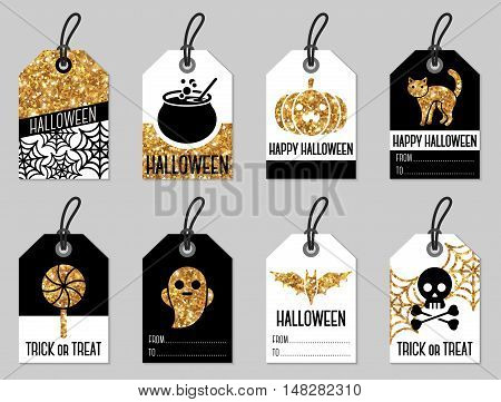 Set of Halloween Gift Tags. Vector Illustration. Shining Gold Texture on Black and White Labels.